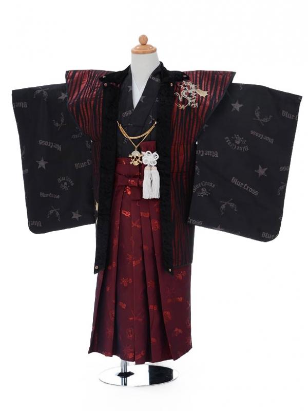 753レンタル(5歳男の子袴)0545ブルークロスワイン×黒