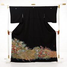 黒留袖レンタルE077 四季花に鳥