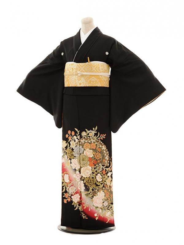黒留袖レンタルE005 桂由美 バラ扇
