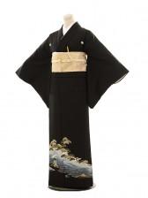 黒留袖E047 松に波