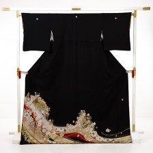 黒留袖レンタルE140 桂由美 扇にバラ