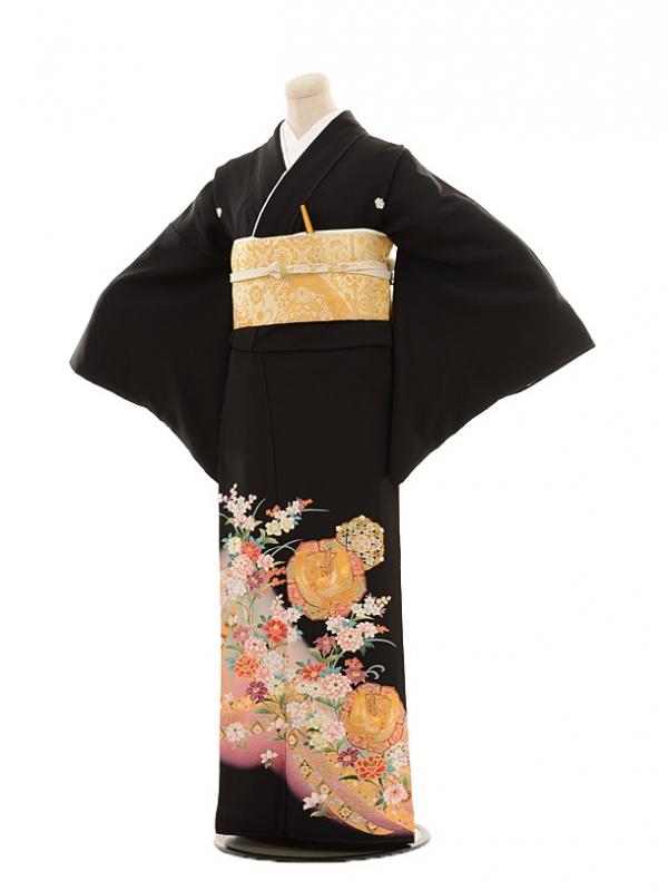 黒留袖レンタルE020 ホウオーに花