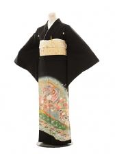 黒留袖レンタルE109 グリーン四季花に鳳凰