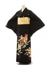 黒留袖E069 松に花