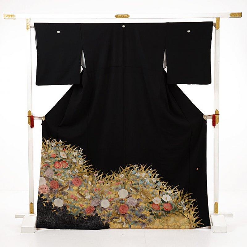 黒留袖レンタルE090 花と水鳥