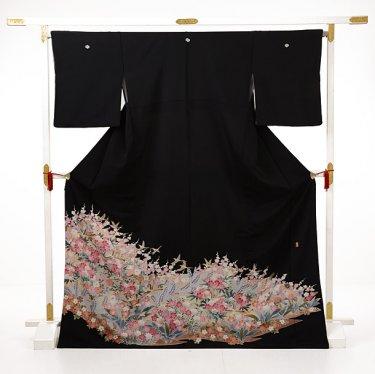 黒留袖レンタルE076 四季花に小鳥