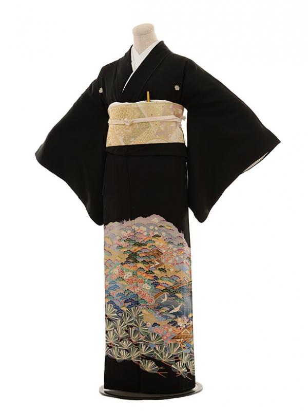 黒留袖レンタルE010 松景色