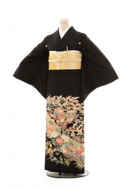 黒留袖レンタルE118 四季花に鶴