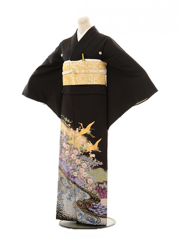 黒留袖レンタルE115 流水花に鶴