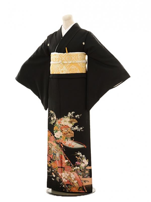 黒留袖レンタルE079 ローズ文箱