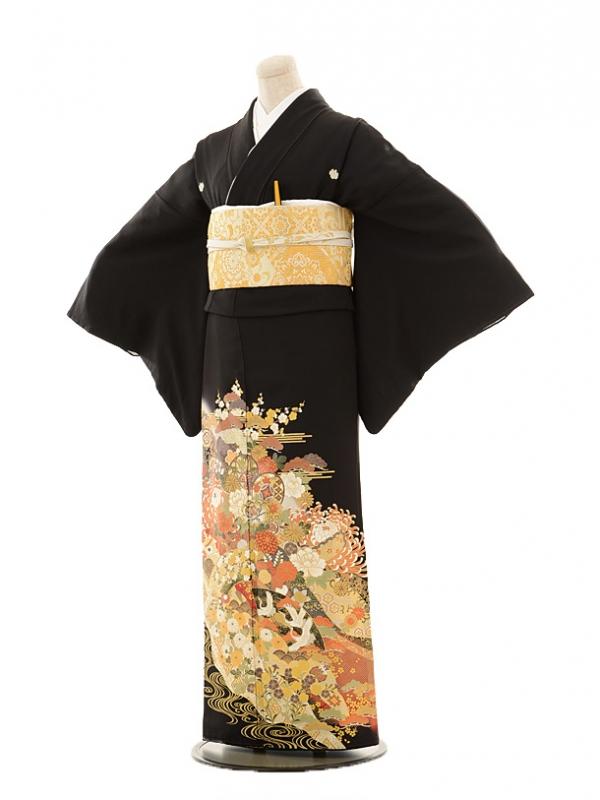 黒留袖レンタルE026 金彩扇に鶴