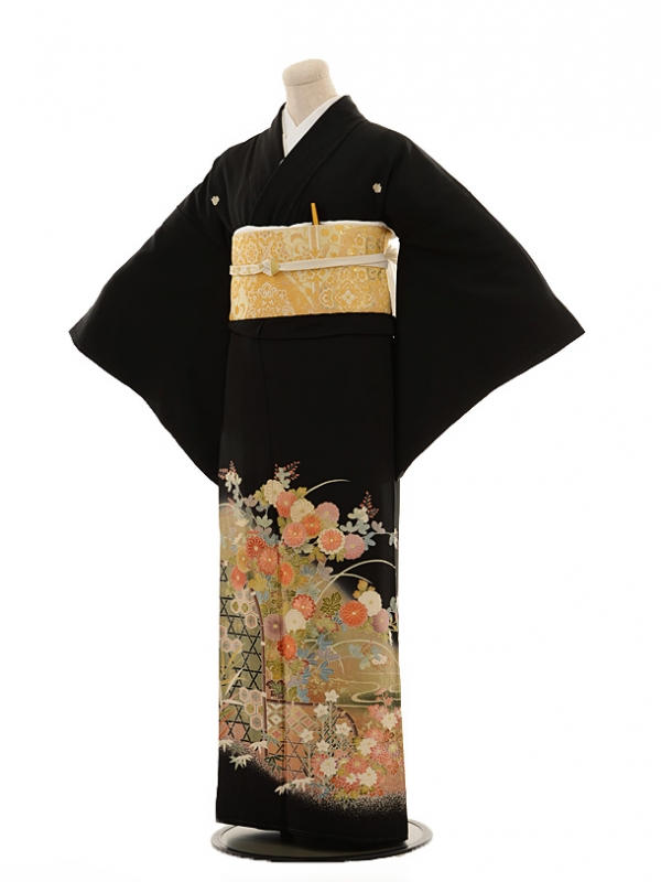 黒留袖レンタルE012 垣根の花