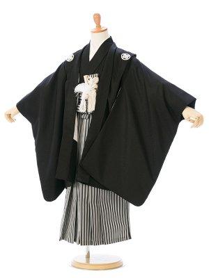 753(5歳男)K5-026 黒紋付/太閤縞袴