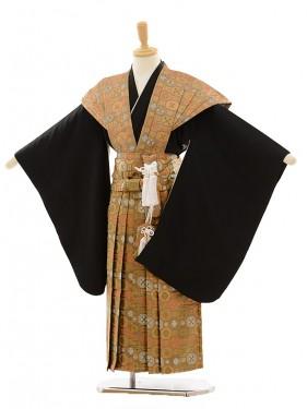 七五三(5歳男袴)A026 黒×金茶