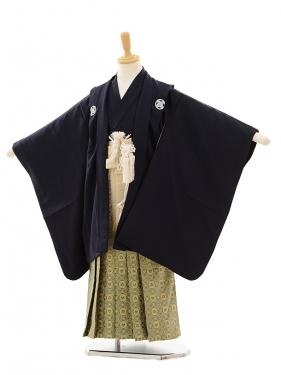 七五三(5歳男袴)A006 紺紋付×ゴールドグリーン