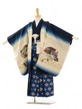 七五三(5歳男袴)A020 紺ぼかし兜×ブルー