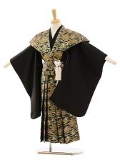 七五三(5歳男袴)A040 黒×グリーンゴールド