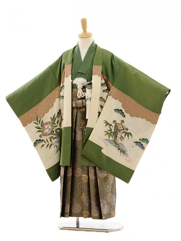 七五三(7歳男袴)A062 グリーン松鷹×グリーンゴール