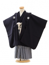 七五三(3歳男袴)A056 紺紋付×紺縞