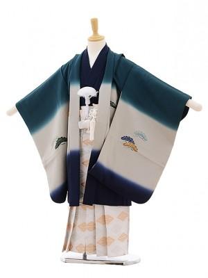 七五三レンタル(5歳男袴)A126 グリーンぼかし 富士に鶴