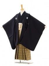 七五三(5歳男袴)A004 紺紋付×ゴールド黒ぼか