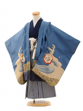 七五三(3歳男袴)A059 ブルーラメ宝舟×紺縞