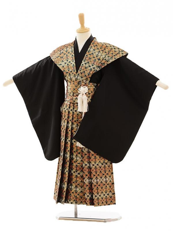 七五三(5歳男袴)A024 黒×ゴールドグリーン赤七
