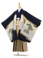 七五三(5歳男袴)A010 紺鷹×ゴールド紺ぼかし