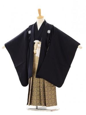 七五三(5歳男袴)A005 紺紋付×ゴールド紺ぼか