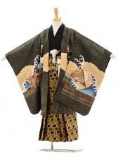 七五三(5歳男袴)A012 黒箔富士×黒亀甲