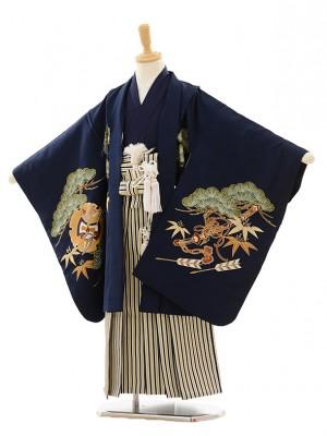 七五三(5歳男袴)A009 紺兜×ゴールド縞