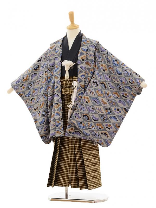 七五三(5歳男袴)A029 ブルー菱に松竹梅×茶チェ