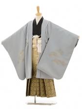 七五三(5歳男袴)A018 グレー鷹×ゴールド黒ぼか