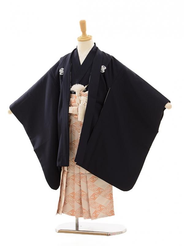 七五三(5歳男袴)A049 紺紋付×白ゴールド菱