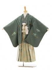 七五三(5歳男゙袴)A034 グリーン縞竹×グリーンゴー