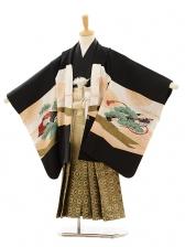 七五三(5歳男袴)A016 黒鼓に鷹×ゴールド黒ぼ