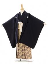 七五三(5歳男袴)A008 紺紋付×ゴールド紫ぼか