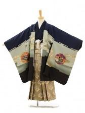 七五三(5歳男袴)A011 紺鷹裾黒×ゴールド菱