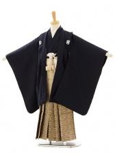 七五三(5歳男袴)A007 紺紋付×ゴールドパープル