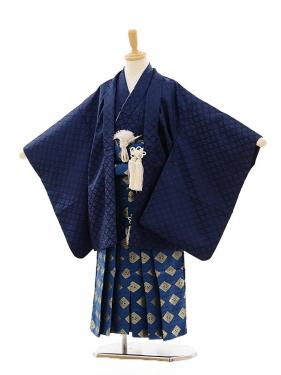 七五三(5歳男袴)A032 紺ラメ×紺菱鶴