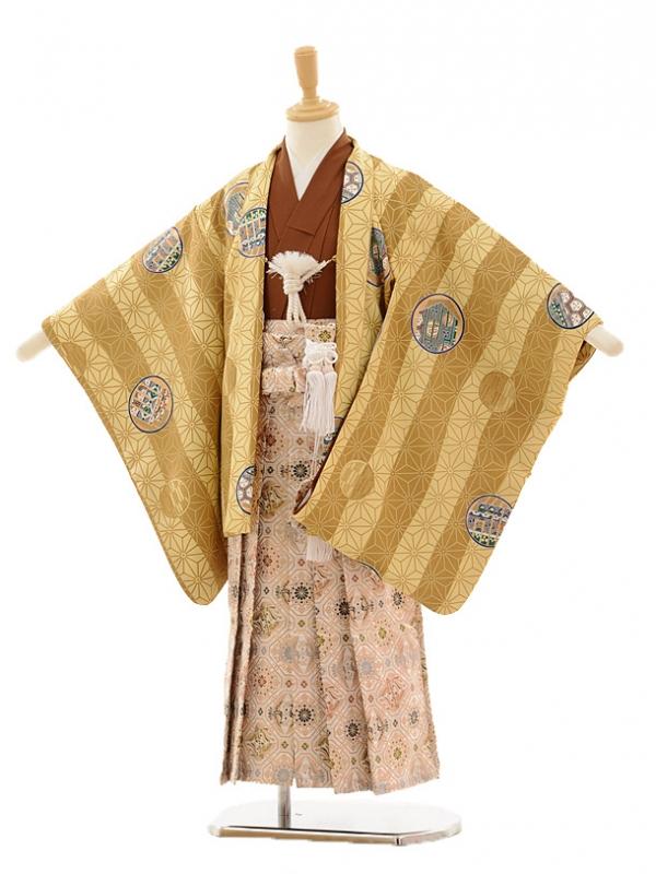 七五三(5歳男袴)A030 からし色縞×白ゴールド