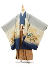 七五三(5歳男袴)A003 大阪城グレー×金茶