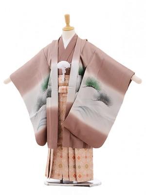 七五三レンタル(5歳男袴)A139 薄柿色 舟に武将 (正絹)