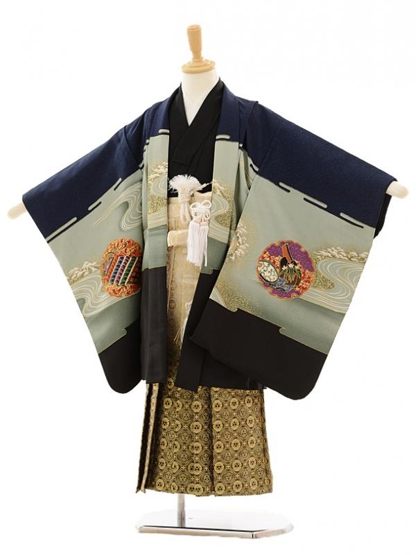 七五三(5歳男袴)A014 紺鷹裾黒×ゴールド黒ぼ