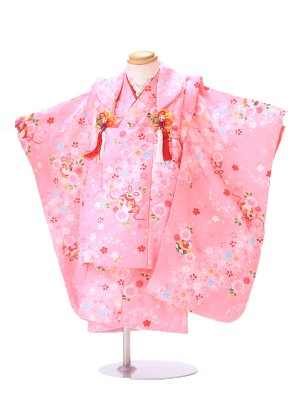 七五三 3歳 女の子 被布 ピンク H011