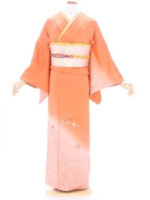 訪問着81オレンジ金箔ぼかし万寿菊刺繍(付下