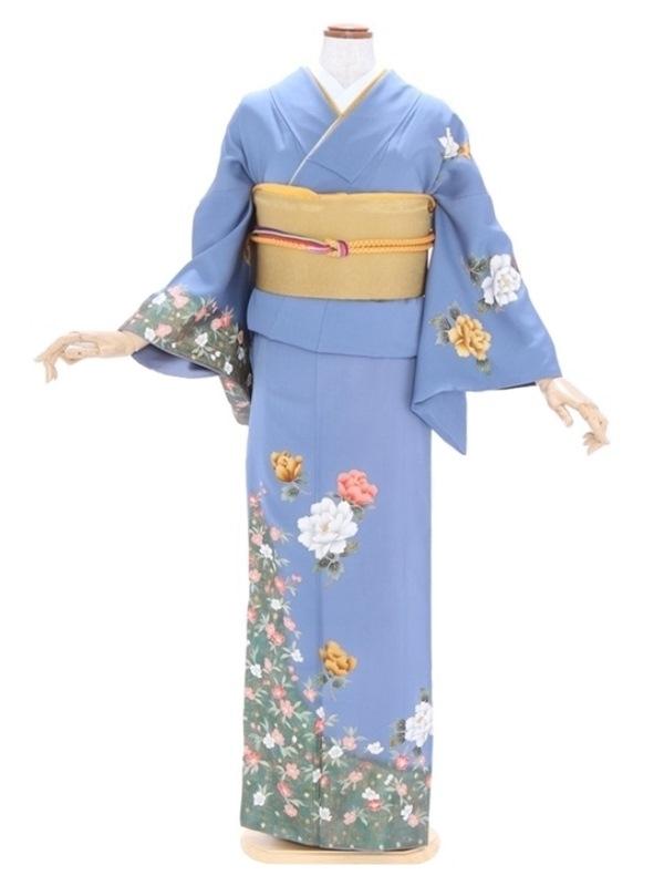 訪問着268花色(ブルー)裾金箔散らし牡丹に
