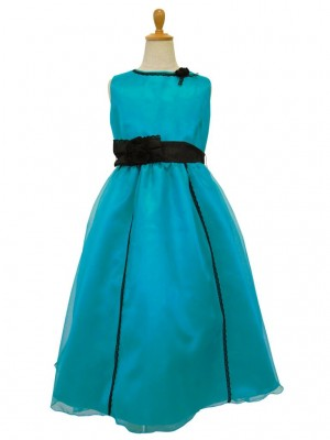 女の子ドレス117tqgrターコイズ 130