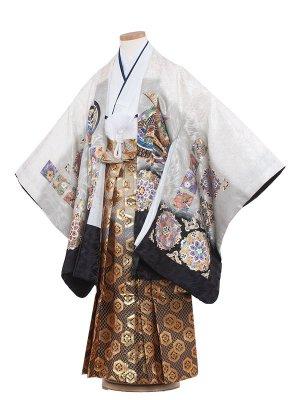 七五三レンタル(6歳男袴)6022 白地/鷹・正倉院文様