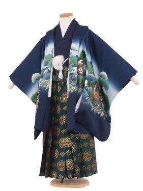 七五三(6男)6029 紺青/波と鷹 袴60